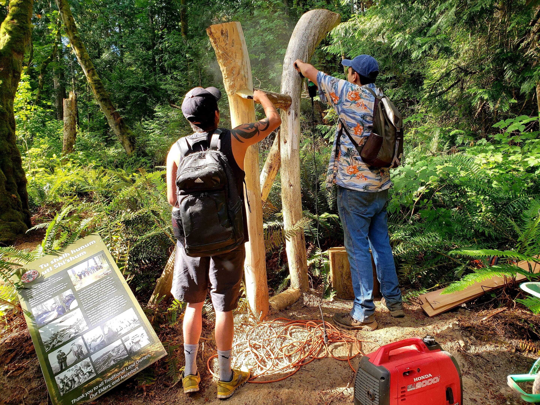 FPCC Heritage program success story. Indigenous youth working on Penelakut trail signage in Indigenous cultural heritage program