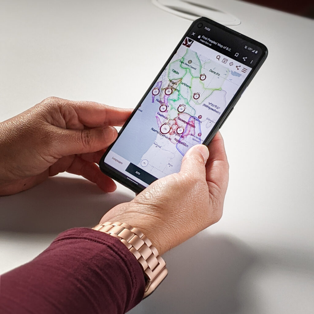 View of the mobile version of the First Peoples' Map