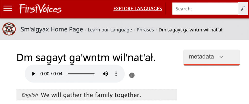 A phrase on the Sm̓algya̱x FirstVoices site.